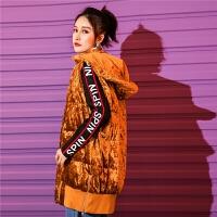 七格格丝绒羽绒服女2019新款韩版宽松时尚反季清仓马甲外套中长款