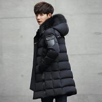 男士外套冬季中长款连帽加厚羽绒服男学生潮牌修身款风衣 黑色