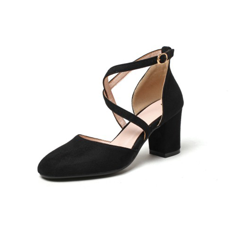 ELEISE美国艾蕾莎新品020-A50-2欧美磨绒高跟粗跟中空女士凉鞋
