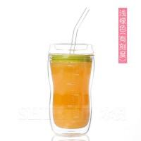 双层刻度杯玻璃带吸管的杯子产妇牛奶杯儿童孕妇隔热防烫保温 浅绿色(带刻度) 吸管杯(小号)