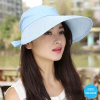 帽子女户外大沿防晒帽沙滩帽休闲遮脸空顶帽韩版凉帽