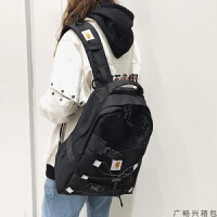 旅游包双肩包女韩版大学生校园古着感少女书包女韩版原宿大容量黑色背包