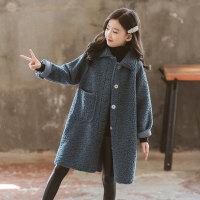 女童外套秋冬冬装皮毛一体儿童中长大衣
