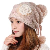 韩版潮毛线帽子女秋冬季保暖时尚米/粉/白色花朵针织帽