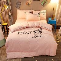 夏季床单被罩枕套三件套床上用品学生宿舍单人女生四件套夏凉冰丝 +枕芯*1+垫芯*1