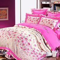 伊迪梦家纺 纯棉贡缎床盖四件套色织大提花床上用品 全棉绣花床品家纺多件套六件套七件套HB101