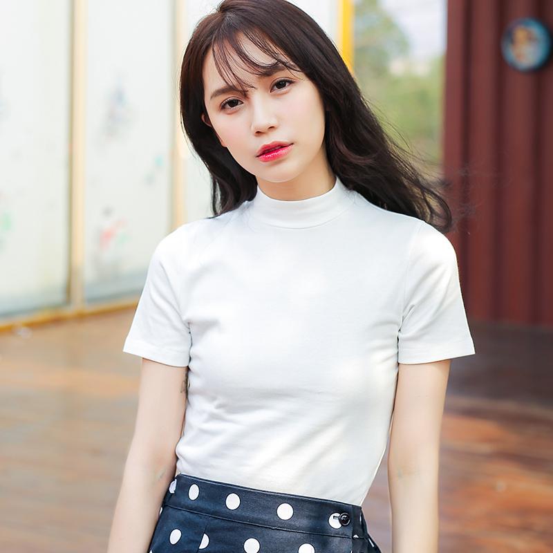 夏季新品韩版百搭修身显瘦高领短袖T恤女棉半袖上衣潮