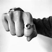 新款流行美国原创潮牌rouille复古怀旧机车工业扳手情侣男女戒指尾戒 女6码金色