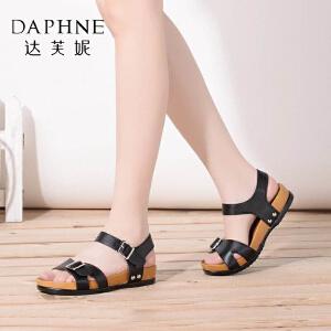 Daphne/达芙妮夏季女鞋平底凉鞋低跟露趾罗马鞋