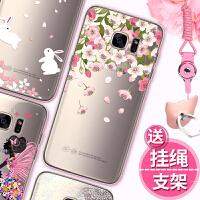 三星 s7edge手机壳 三星S7保护套 g9300 g9350 女款保护套软硅胶潮全包透明个性创意彩绘水钻手机壳IJ