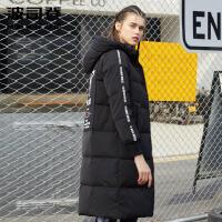 波司登(BOSIDENG)2017新款冬季字母中长款图案时尚女款厚羽绒服潮B70142134