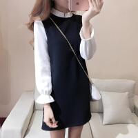 韩观2017新款女装韩版秋冬连衣裙女长袖假两件套a字裙遮肚子打底裙子 黑色