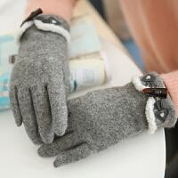 韩版手套女冬可爱骑车手套女学生加绒加厚保暖开车分指可触屏手套