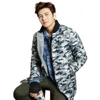 秋冬新款羽绒服男修身外套 韩版青年中长款迷彩男装