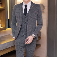 男士西服套装韩版修身小西装休闲商务正装新郎结婚礼服帅气三件套 灰色 48(M)西服+裤子=两件套