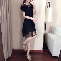 雪纺连衣裙2018夏季新款女装露肩短袖赫本小黑裙子收腰显瘦A字裙