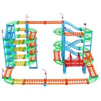 轨道火车玩具男孩宝宝玩具套装电动小汽车儿童百变轨道车六一儿童礼物 +警车+校车+充电套装