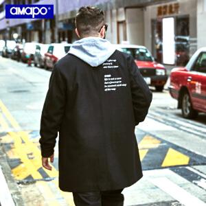 【限时抢购到手价:229元】AMAPO潮牌大码男装胖子加肥加大宽松嘻哈羊毛呢大衣休闲外套男潮