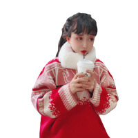 秋冬韩版学院风复古红色慵懒风宽松加厚套头毛衣针织衫上衣外套女 毛衣+围脖 均码
