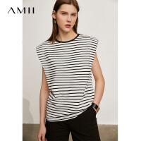 Amii极简休闲圆领条纹短袖T恤女士2021夏季新款宽松无袖背心上衣