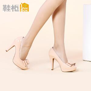 达芙妮旗下SHOEBOX/鞋柜高跟防水台细跟蝴蝶结单鞋