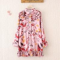 大码女装连衣裙春新款200斤胖mm宽松遮肚百褶印花衬衫裙长袖短裙