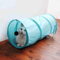 【支持礼品卡】猫玩具可折帐篷猫通猫道 色涤纶隧道猫隧道滚地龙吊球猫用品6ba