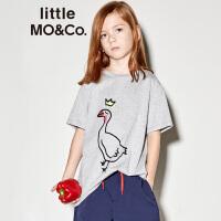 littlemoco夏季新品儿童T恤圆领全棉鹅动物印花图案短袖T恤