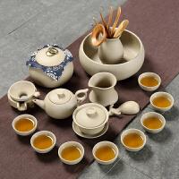【品牌热卖】工夫茶杯具套装粗陶茶具套装复古陶瓷工夫茶壶盖碗茶杯普洱素色简约办公室家用 盖碗茶壶16件套
