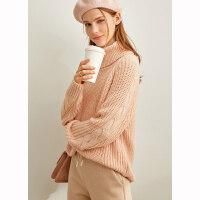 【到手价:149元】Amii极简慵懒风套头毛衣女2019秋冬新款宽松高领肌理感针织衫上衣