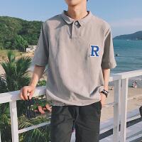 夏季文艺宽松情侣POLO衫男士短袖纯色休闲学生翻领潮T恤