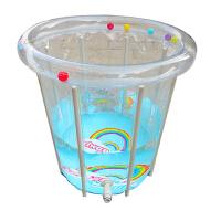 台湾 新款加厚充气保温儿童游泳桶 78*80透明支架款婴儿游泳池 戏水玩具宝宝游泳池