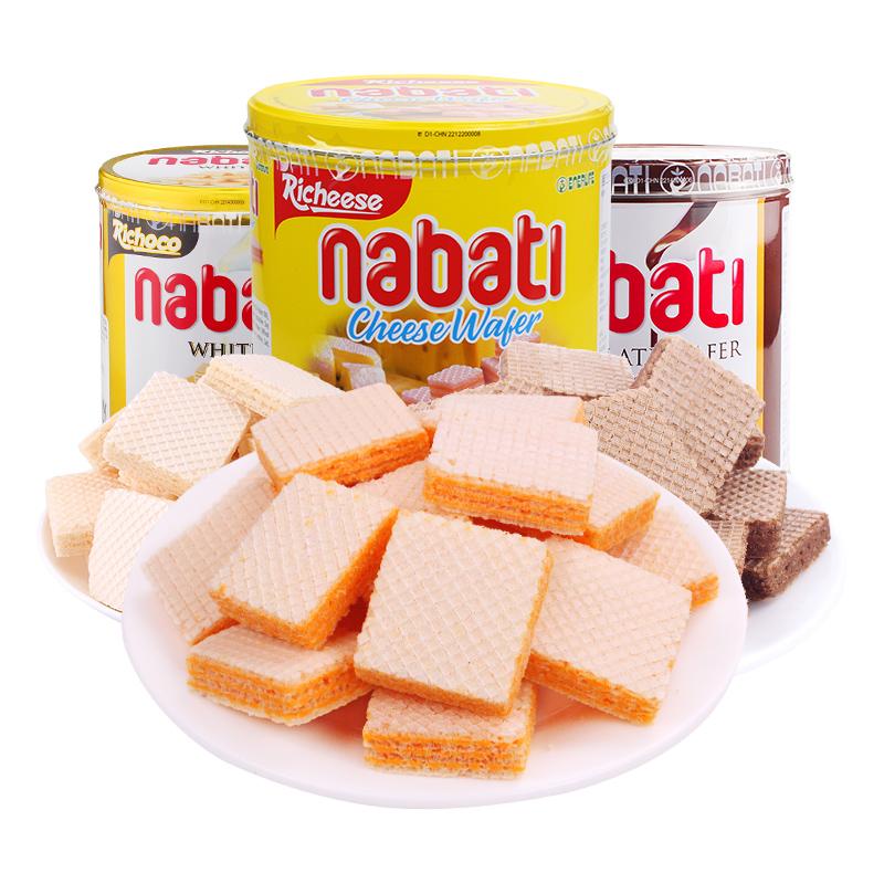 【促销 】印度尼西亚进口丽芝士Richeese纳宝帝奶酪味威化饼干350g罐装休闲零食纳宝帝奶酪味威化饼干350g罐装