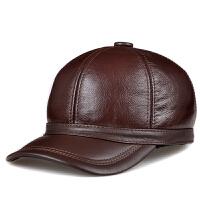 冬季男帽头层牛皮棒球真皮护耳中老年帽 保暖老人老头帽