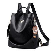 双肩包女户外时尚百搭休闲韩版旅行背包简约软皮质女士包包潮