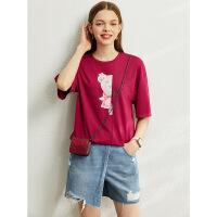 Amii可�劭ㄍㄓ』ǘ绦�T恤2020夏季新款潮ins中�L款�t色��松上衣女