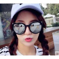 新品韩版个性彩膜反光墨镜女圆脸眼镜 炫彩彩膜大框猫眼太阳镜户外遮阳镜