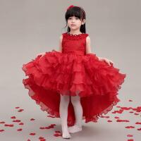 女童公主裙婚礼花童礼服公主裙婚纱 儿童礼服裙前短后长拖尾礼服秋 红色