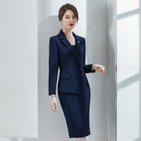 讲师女装气质假两件连衣裙韩版西装裙置业顾问职业裙秋冬主持套裙