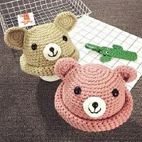 儿童毛线帽秋冬针织手工盆帽男女童渔夫帽护耳保暖宝宝帽子1-2岁