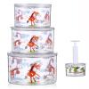 保鲜碗密封罐 ABS材质抽真空水果食品保鲜盒大中小三件套装送抽气泵橙f7c