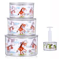 保鲜碗密封罐 ABS材质抽真空水果食品保鲜盒大中小三件套装f7c