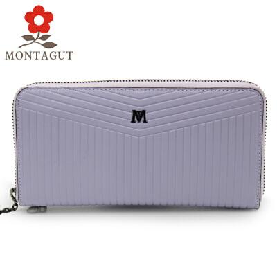梦特娇Montagut女士手拿包时尚拉链款钱包简约休闲长款手包牛皮钱夹