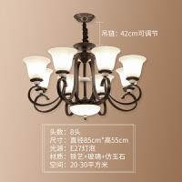 客厅家用北欧简约吸顶灯美式主卧室吊灯铁艺美式灯现代客厅吊灯具