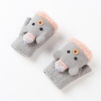 3-6岁翻盖露指宝宝手套冬季保暖厚绒款儿童手套男孩 冬