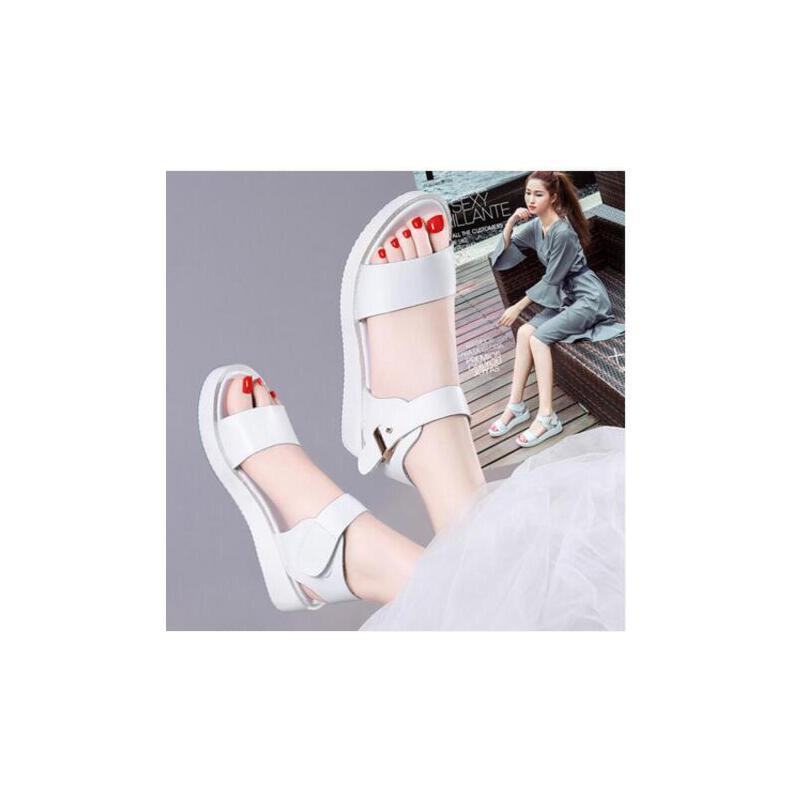 古奇天伦厚底韩版百搭一字扣女鞋新款学生鞋真皮平底凉鞋女夏MD8213 品质保证  售后无忧