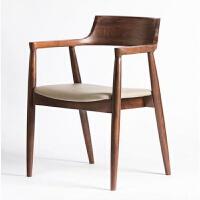 【品牌热卖】椅子实木餐椅简约家用靠背椅子带扶手布艺咖啡厅 图片色