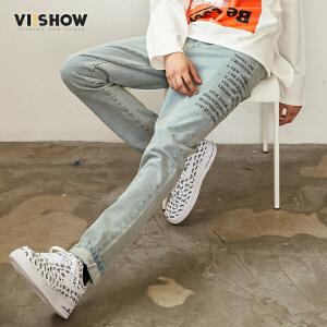 VIISHOW2018新款牛仔裤男士休闲长裤水洗白做旧牛仔裤子学生装