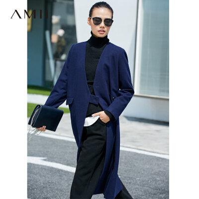【到手价327元】Amii极简气质港味潮羊毛毛呢外套女2018冬新V领拼接保暖长款大衣.