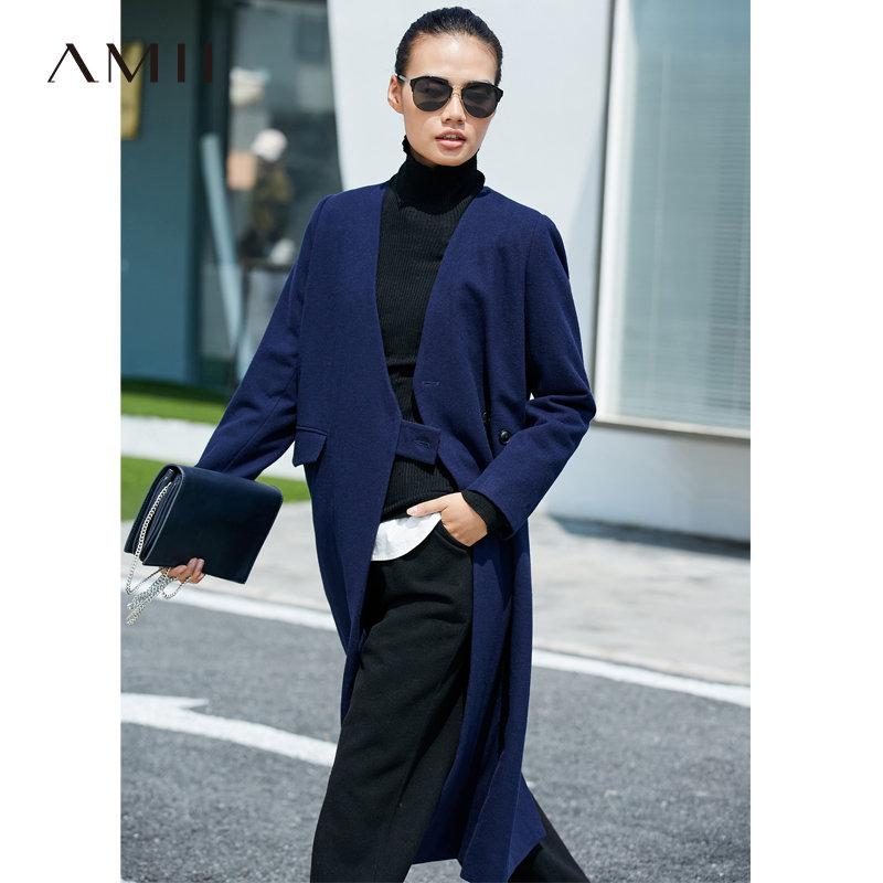 【大牌清仓 5折起】Amii时尚毛呢外套女冬季新V领拼接袢带收腰保暖大衣